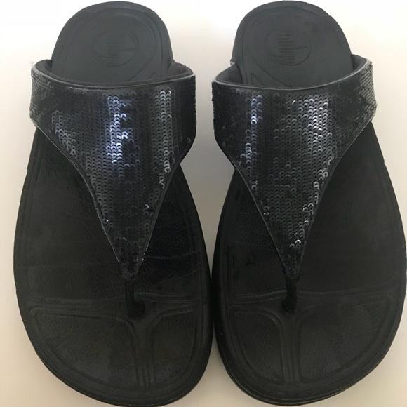 1382745e69ed67 Fitflop Shoes - Fitflop Electra Black Magic Flip Flops Sequins